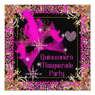 Hot Pink Gold Black Masquerade Quinceanera Party Card