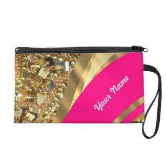 Hot pink gold bling wristlet purses