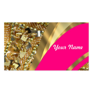Hot pink & gold bling Double-Sided standard business cards (Pack of 100)