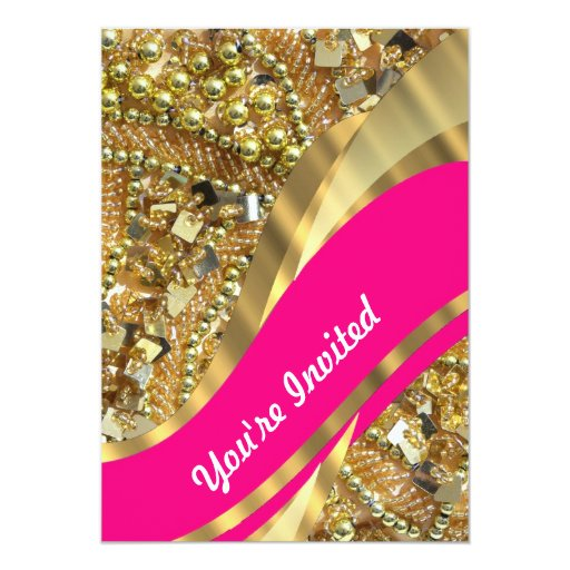 Hot pink & gold bling card