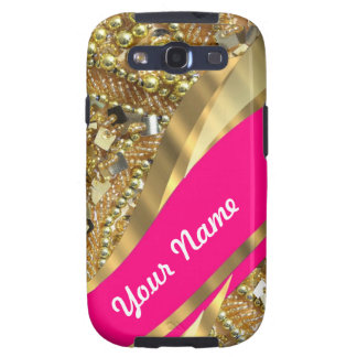 Hot pink & gold bling samsung galaxy SIII cases