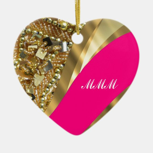 Hot pink & gold bling ceramic ornament
