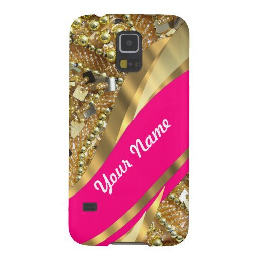 Hot pink & gold bling galaxy s5 cover
