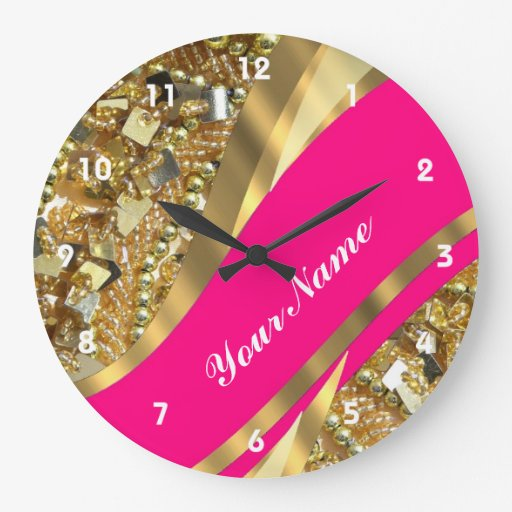 Hot pink & gold bling large clock