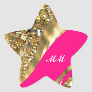 Hot pink & gold bling star sticker