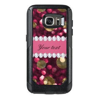 Hot Pink Gold Bokeh Faux Diamonds Personalized OtterBox Samsung Galaxy S7 Case