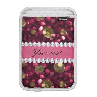 Hot Pink Gold Bokeh Faux Diamonds Personalized Sleeve For iPad Mini