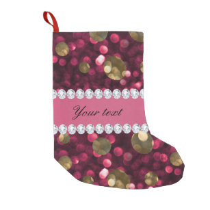 Hot Pink Gold Bokeh Faux Diamonds Personalized Small Christmas Stocking