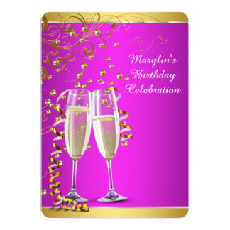 Hot Pink Gold Champagne Birthday Party Card