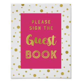 Hot Pink Gold Confetti Guest Book Wedding Sign Poster