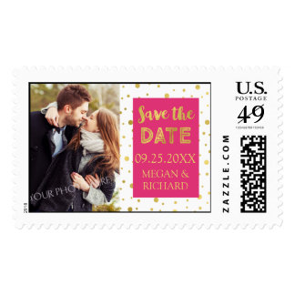 Hot Pink Gold Confetti Photo Save the Date Stamps