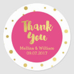 Hot Pink Gold Confetti Wedding Favor Tags Classic Round Sticker
