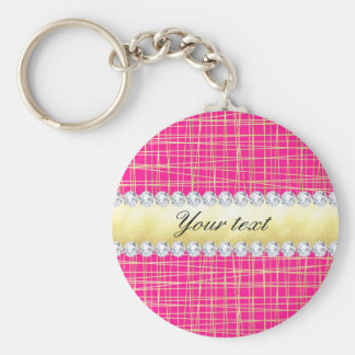 Hot Pink Gold Criss Cross Lines Diamonds Keychain