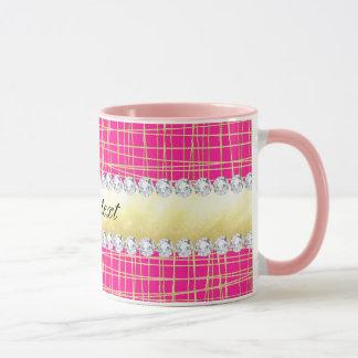 Hot Pink Gold Criss Cross Lines Diamonds Mug