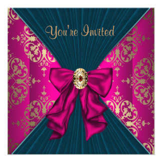 Hot Pink Gold Damask Black Tie Party Custom Invites