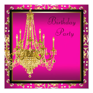 Hot Pink Gold Damask Chandelier Birthday Party Card