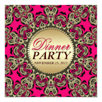 Hot Pink Gold Exotic Decorative Dinner Party Card