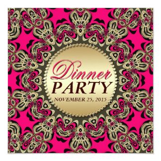Hot Pink Gold Exotic Decorative Dinner Party 5.25x5.25 Square Paper Invitation Card
