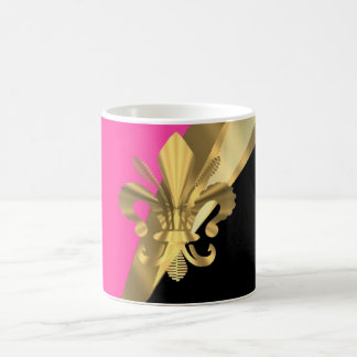 Hot pink & gold fleur de lys coffee mug