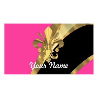 Hot pink & gold fleur de lys Double-Sided standard business cards (Pack of 100)