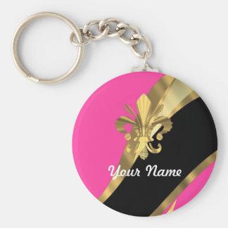 Hot pink & gold fleur de lys keychain