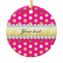 Hot Pink Gold Foil Polka Dots Diamonds Ceramic Ornament