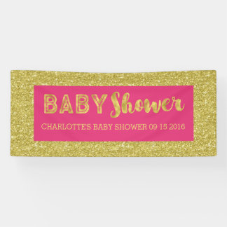 Hot Pink Gold Glitter Baby Shower Sign Custom Banner