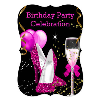 Hot Pink Gold Glitter Balloons Birthday Party 5x7 Paper Invitation Card