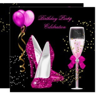 Hot Pink Gold Glitter Black Birthday Party Invitation