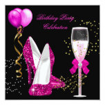 Hot Pink Gold Glitter Black Birthday Party Personalized Invites