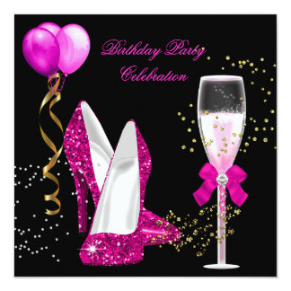 Hot Pink Gold Glitter Black Birthday Party 5.25x5.25 Square Paper Invitation Card