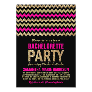 Hot Pink & Gold Glitter Chevron Bachelorette Party Card
