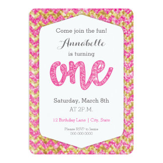 Hot Pink Gold Glitter Chevron First Birthday Card