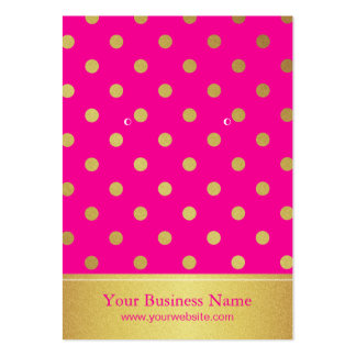Hot Pink Gold Glitter Dots Earring Display Cards Large Business Card