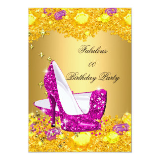 Hot Pink Gold Glitter High Heels Fabulous Party Card