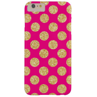 Hot Pink Gold Glitter Polka Dots Pattern Barely There iPhone 6 Plus Case