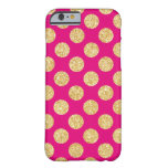 Hot Pink Gold Glitter Polka Dots Pattern Barely There iPhone 6 Case