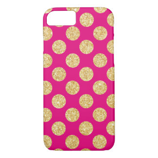 Hot Pink Gold Glitter Polka Dots Pattern iPhone 7 Case