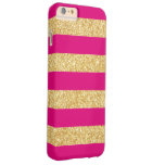 Hot Pink Gold Glitter Stripes Barely There iPhone 6 Plus Case