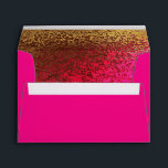 """Hot Pink &amp; Gold Glitzy Custom Invitation Envelope<br><div class=""""desc"""">Add a pretty punch to your invitations,  with this glamorous envelope done in bright pink.  Graphics of a gold tone to pink foil gradient look covers the inside of the envelope.  Black return address,  on the front,  is ready to personalize.</div>"""