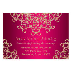 Hot Pink Gold Indian Inspired Enclosure Card Business Card Templates