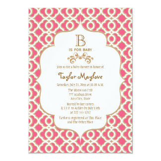 Hot Pink Gold Moroccan Baby Girl Baby Shower 5x7 Paper Invitation Card