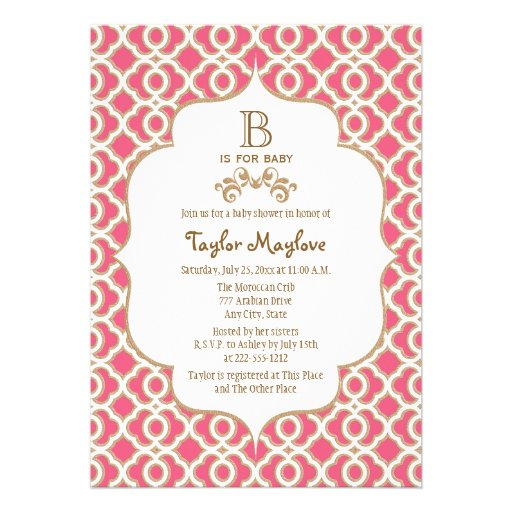 Hot Pink Gold Moroccan Baby Girl Baby Shower Personalized Announcements