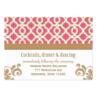 Hot Pink Gold Moroccan Reception Enclosure Card Large Business Cards (Pack Of 100)