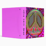 Hot Pink Gold New Peace Sign Binder