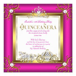 Hot Pink Gold Princess Quinceanera 15th Birthday Card