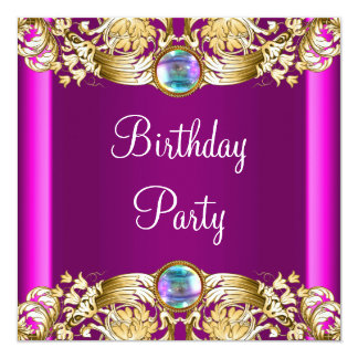 Hot Pink Gold Purple Birthday Party Card