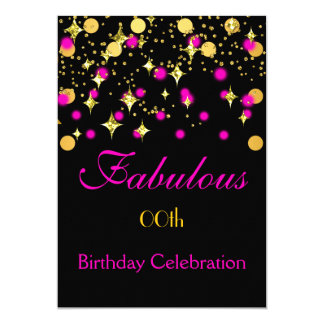 Hot Pink Gold Shimmer Lights Birthday Party Card