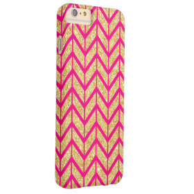 Hot Pink Gold Sparkle Zigzag Chevron Pattern Barely There iPhone 6 Plus Case