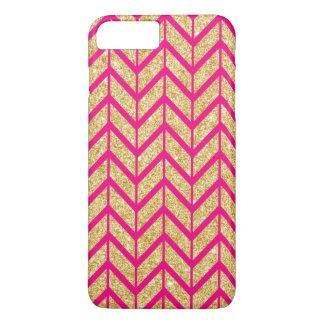 Hot Pink Gold Sparkle Zigzag Chevron Pattern iPhone 7 Plus Case